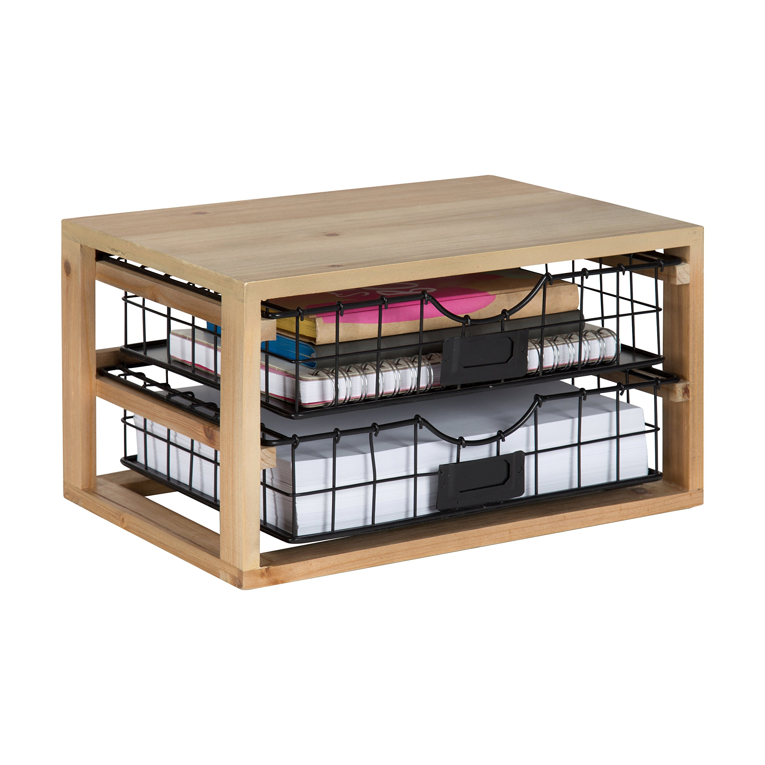 Kate and Laurel Tanner Rustic Wood and Metal Desktop Drawer Organizer Letter Tray by Kate and Laurel (Image #4)