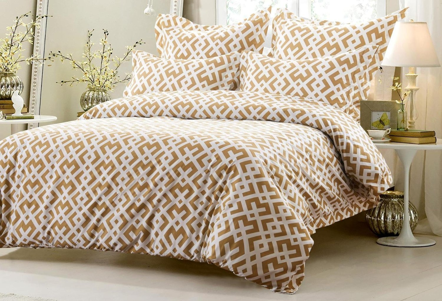 6pc Taupe White Design Bedding Set