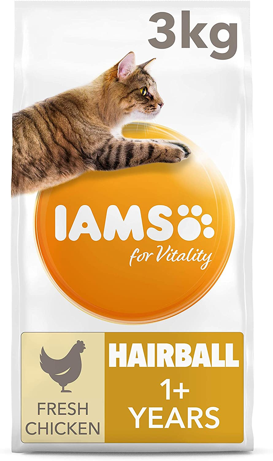 Iams for Vitality Cat Food for Hairball Control with Fresh Chicken, 3 kg