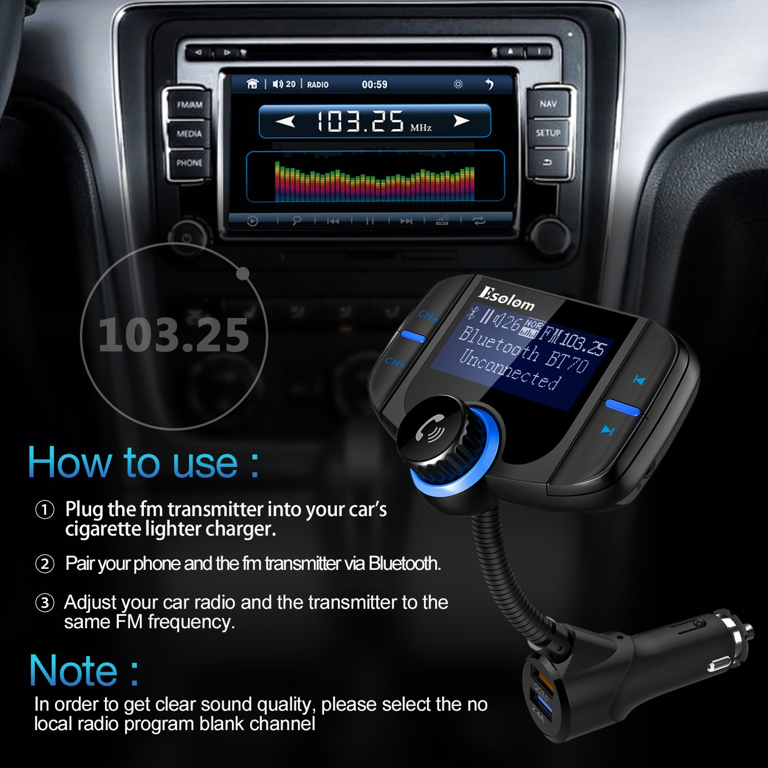 """Bluetooth FM Transmitter, ESOLOM Wireless Car Stereo Radio Adapter Receiver, Hands-free Calling Car Kit with 1.7"""" Display, QC3.0 & Smart 2.4A Dual USB Ports, Support TF Card, AUX Input/Output by ESOLOM (Image #6)"""