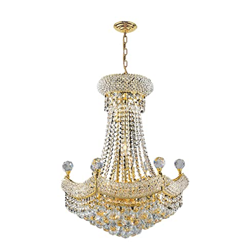 Worldwide Lighting Empire Collection 12 Light Gold Finish Crystal ...