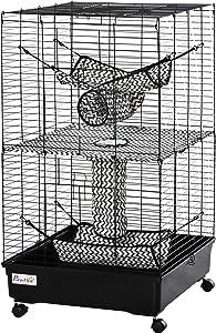 PawHut Small Animal Cage Habitat for Ferret with Wheels Hammocks Tunnels and 3 Doors, Black