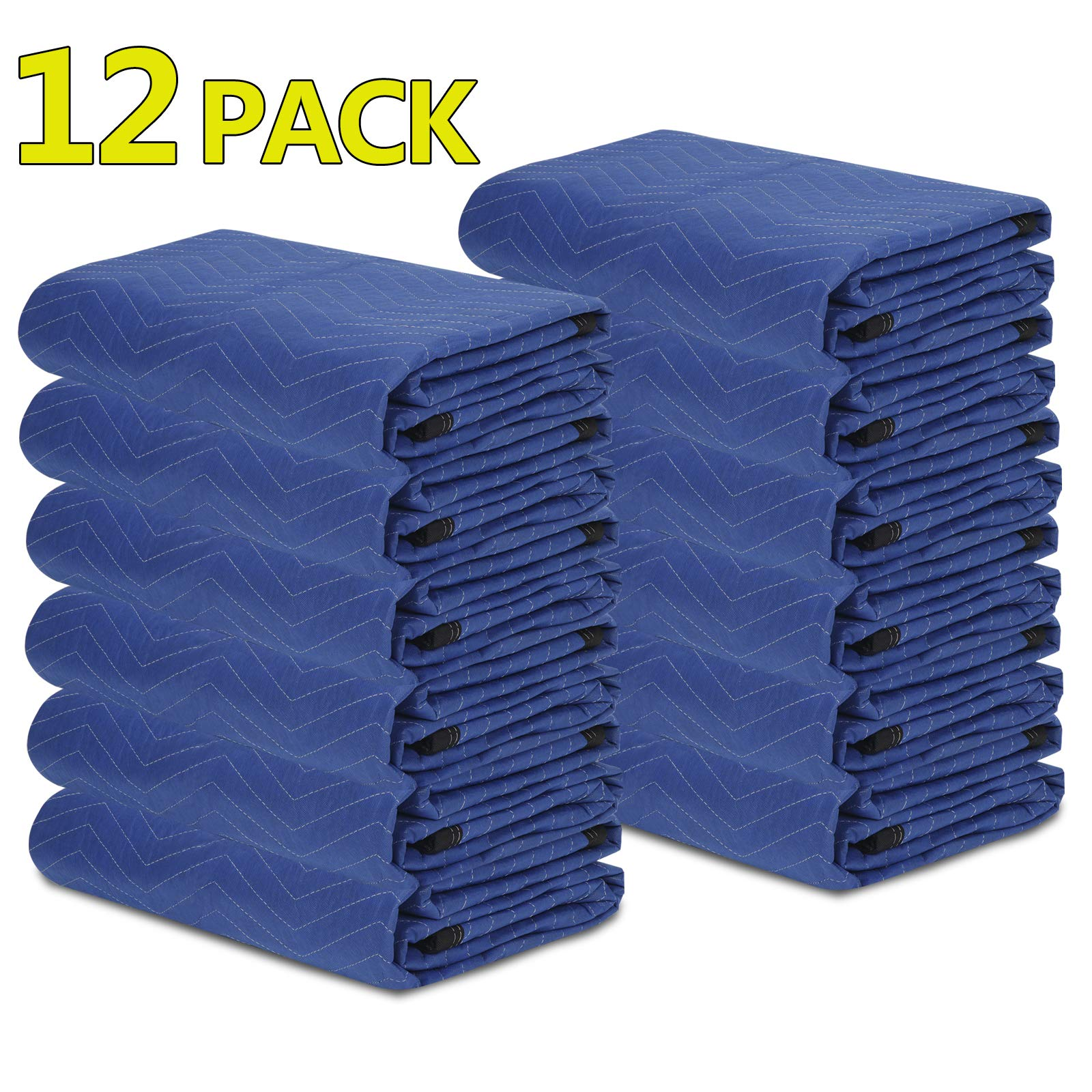 ZENY 12 Moving Blankets Packing Blanket Quilted Shipping Furniture Pads 80''x 72'' Moving Supplies,Furniture Protection and Pack Blankets by ZENY (Image #1)