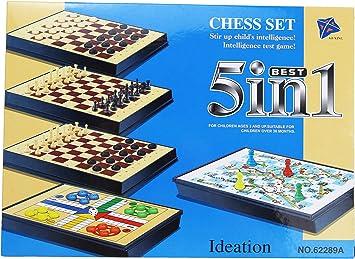 Wagtail Chess Set Juego de Mesa atradicional 5 in 1. (Grande): Amazon.es: Juguetes y juegos