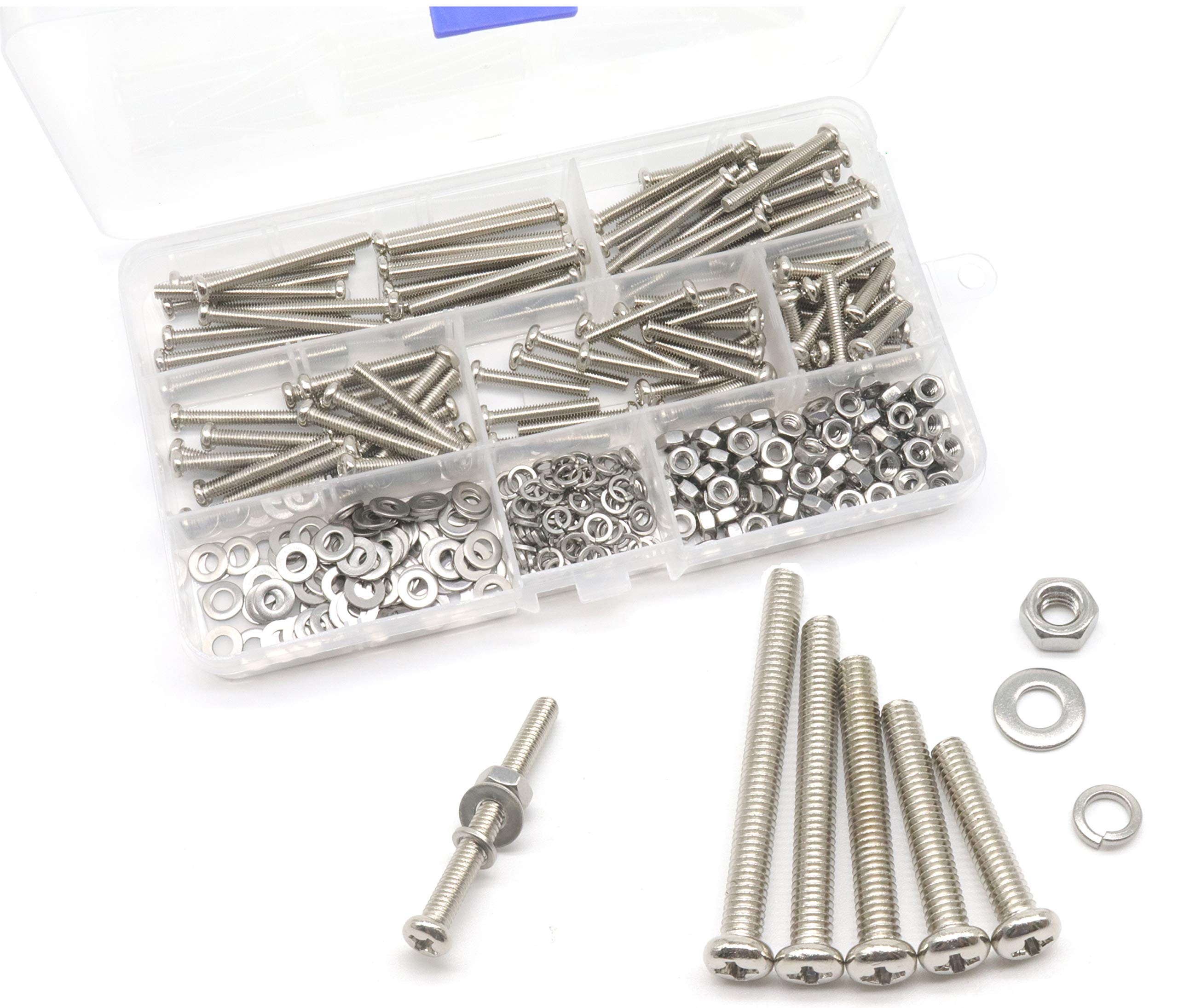 cSeao 340pcs M4 Pan Head Phillips Screws Nuts Washers Assortment Kit, 304 Stainless Steel, M4x 20mm/ 25mm/ 30mm/ 35mm/ 40mm by cSeao