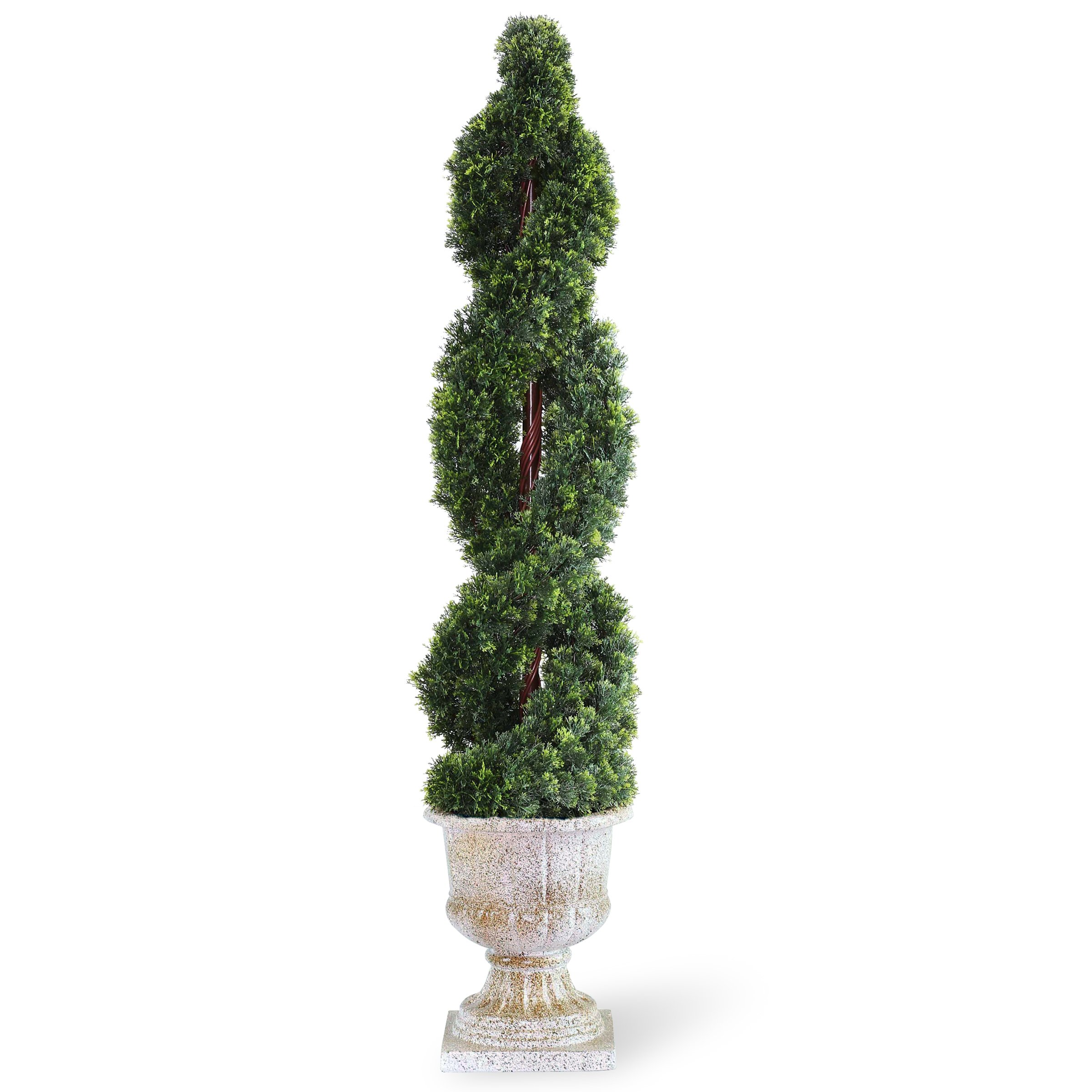 National Tree 54 Inch Double Cedar Spiral Tree in Decorative Urn (LCDS4-705-54)