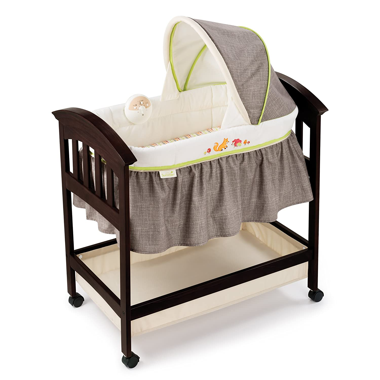 Espresso crib for sale - Amazon Com Summer Infant Classic Comfort Wood Bassinet Fox And Friends Espresso Stain Baby