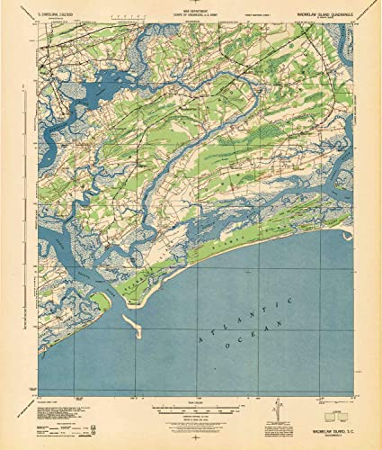 Amazon.com : YellowMaps Wadmelaw Island SC topo map, 1:62500 Scale ...