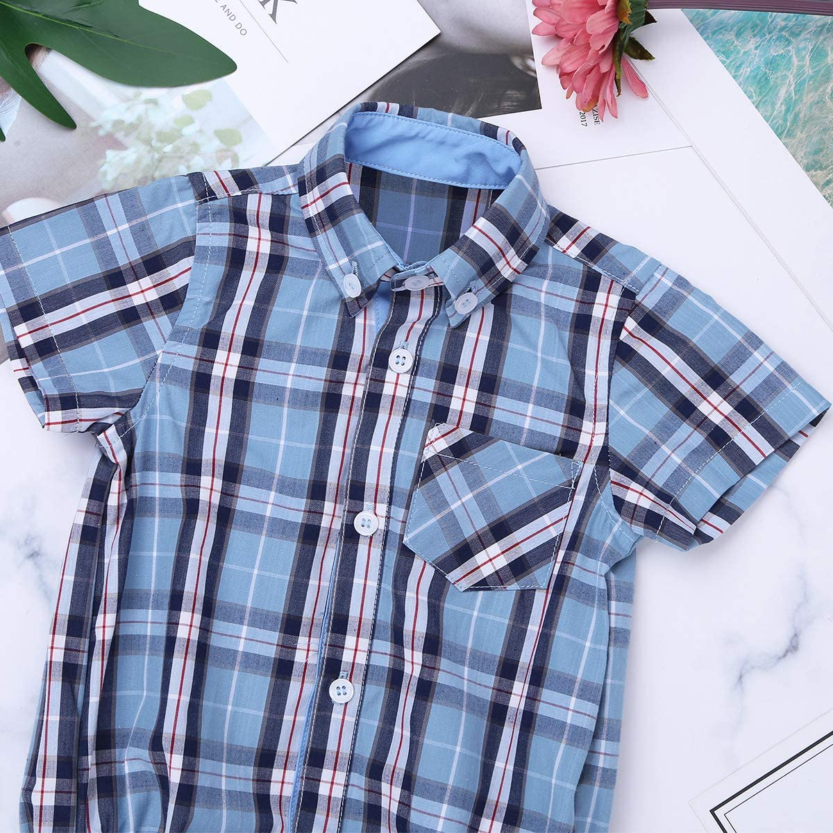 CHICTRY Baby Boys Infant Gentleman Style Romper Shirt Cotton Short Sleeve Plaid Jumpsuit Clothes
