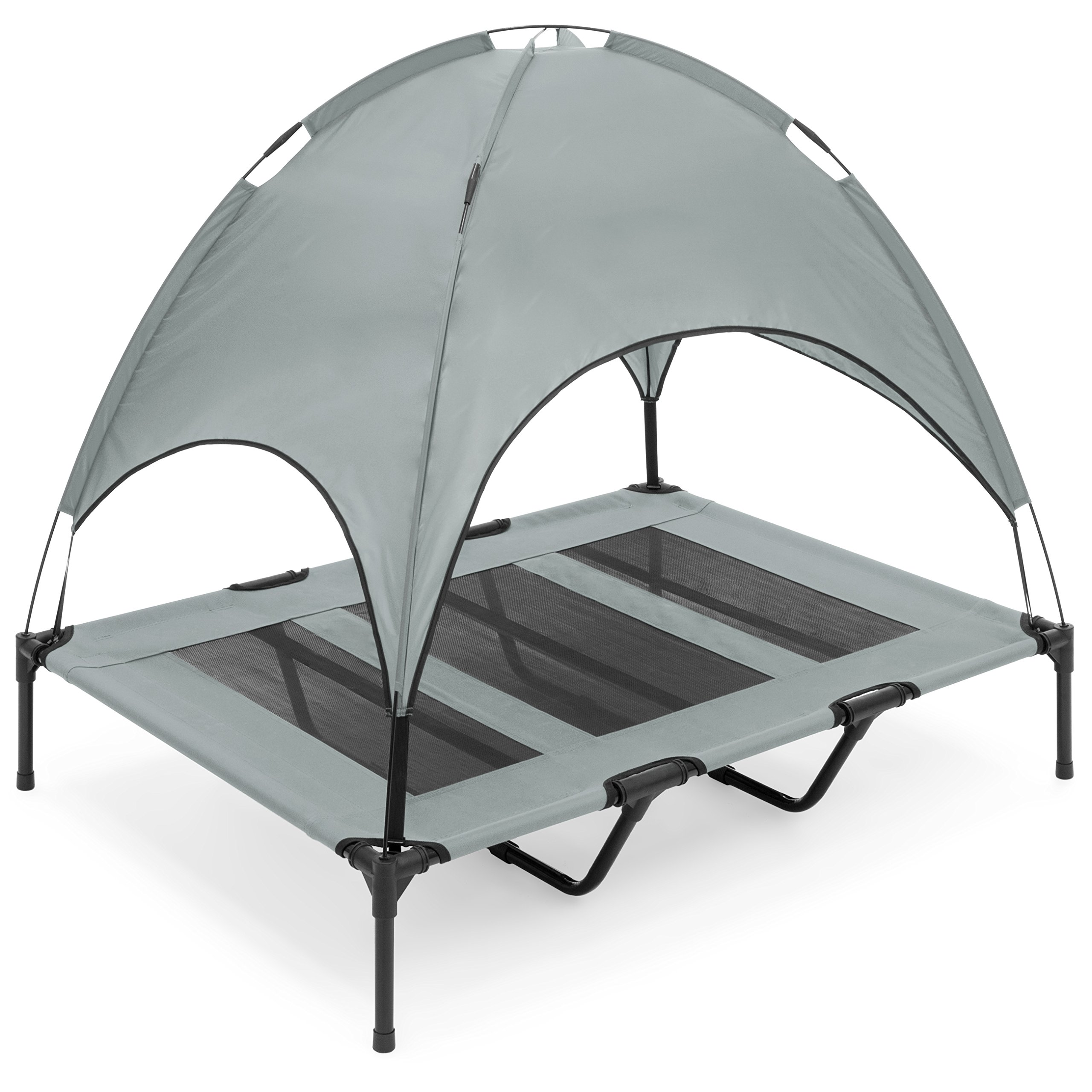 Best Choice Products Raised Mesh Cot Cooling Dog Bed, 48in, Gray, with Removable Canopy Shade Tent, Travel Bag, Breathable Fabric