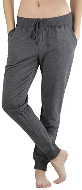 7bc701d45bc3ce ToBeInStyle Women's Solid Print French Terry Jogger Pants - Charcoal - Small