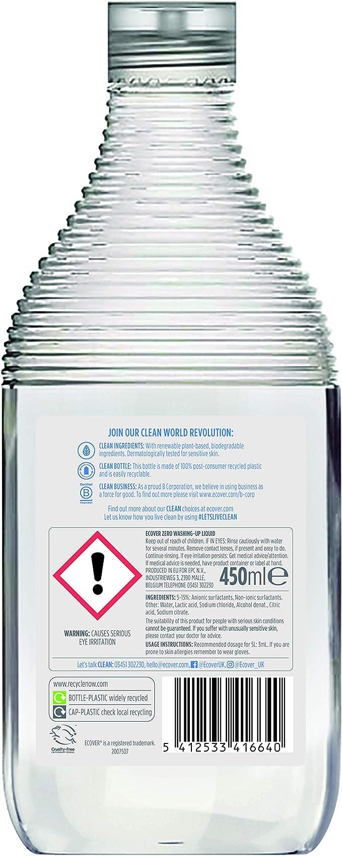 Ecover mano de lavavajillas Zero, 498 ml: Amazon.es: Salud y ...
