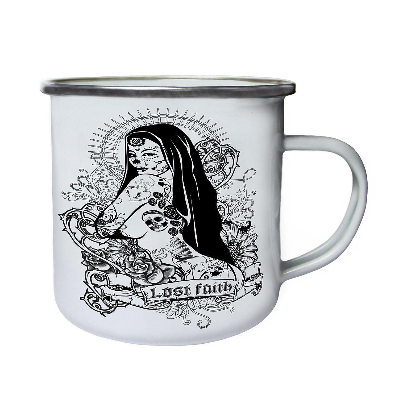 tatuaje perdido chica fe Retro, lata, taza del esmalte 10oz/280ml ...