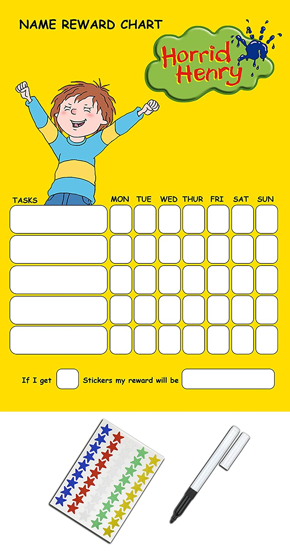 Reusable Horrid Henry Reward Chart Includes Stickers Pen Amazoncouk Toys Games