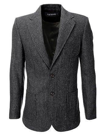 più popolare aspetto elegante scarpe da skate FLATSEVEN, giacca da uomo in lana con toppe a gomito e motivo a ...