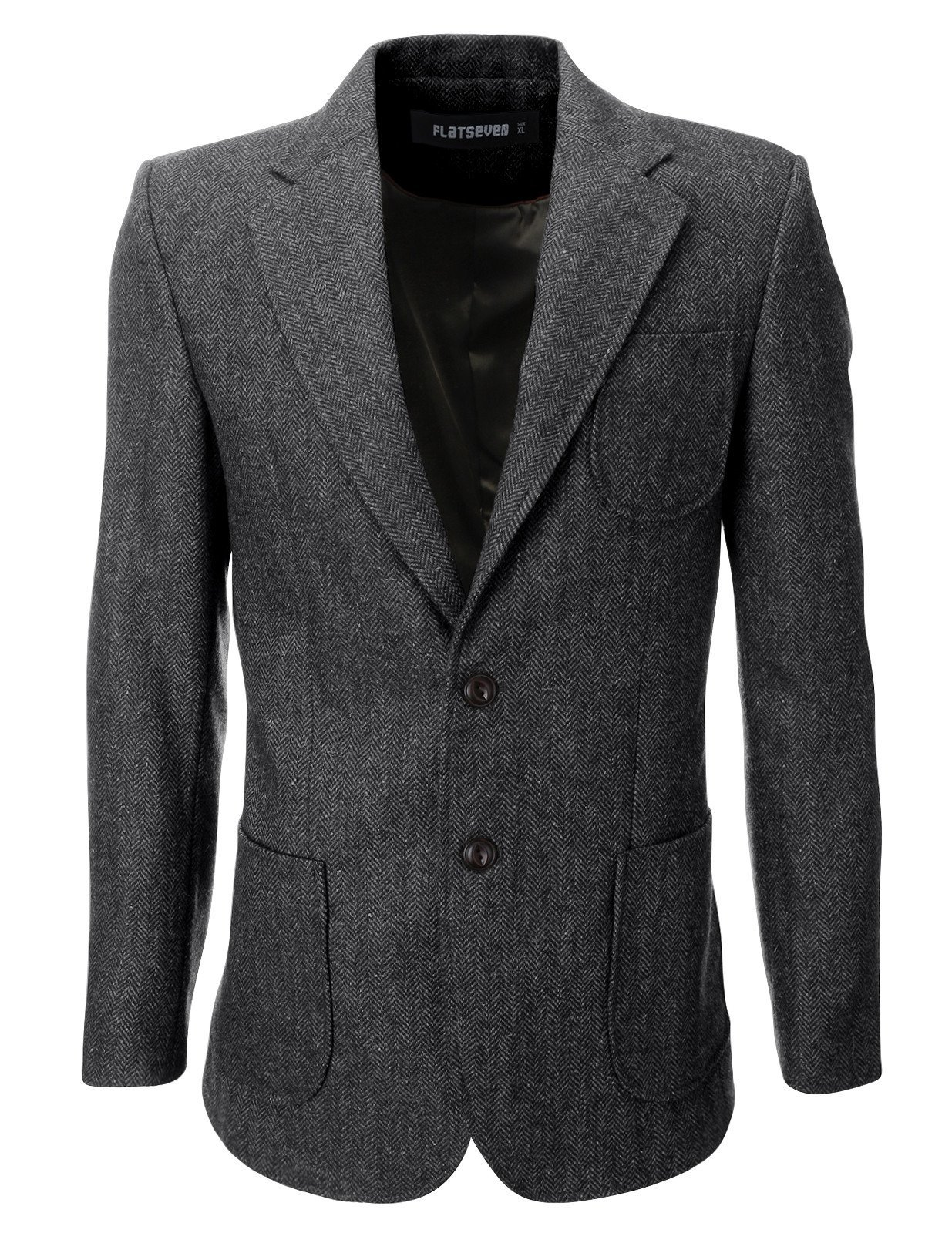 FLATSEVEN Mens Herringbone Wool Blazer Jacket With Elbow Patches (BJ902) Grey, M