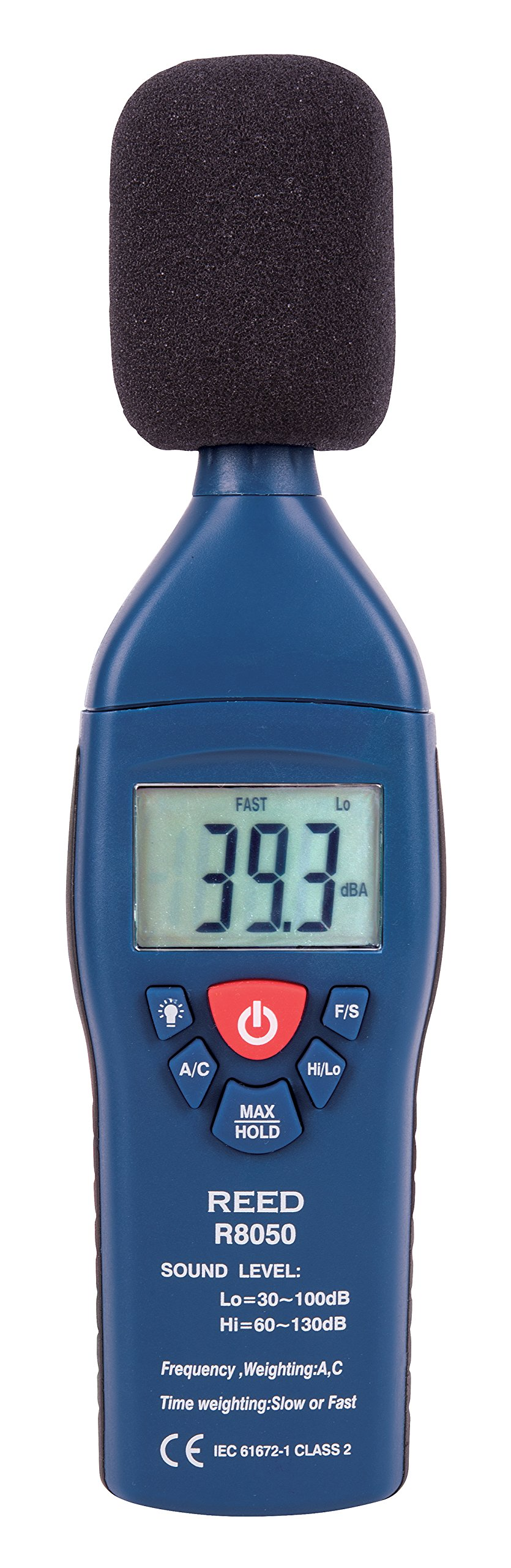REED Instruments R8050 Sound Level Meter, Type 2, 30-100 and 60-130dB, +/-1.4 dB Accuracy by REED Instruments