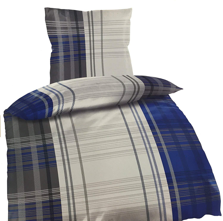 4tlg Warme Winter Bettwäsche Fleece Flausch 2X 135x200 + 2X 80 x80 Bela Blau