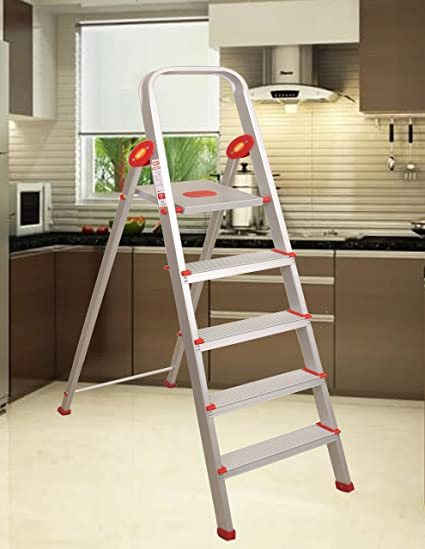 Magna Homewares� Safe Step Plus Handy - Ultra-Stable 5-Step Foldable High Tensile Aluminium Ladder for Home Use with 5-Year Warranty