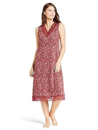 Kathy Ireland Womens Long Sleeveless Lace Trim V-Neck Pajama Sleep  Dormshirt Pomegranate Small 9b221c492