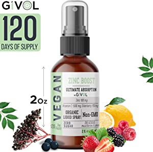 GIVOL Organic ZINC Boost Mist 100mg (Extra Strength) Liquid Spray for Kids & Adults - Immune Boost - High Flavonoid Levels - Vegan- Easy Absorption - Non-GMO - 2 oz
