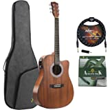 ADM Full Size Acoustic Electric Solid Top Guitar 41 Inch Cutaway Dreadnought Guitar Handmade Wood Kids Guitar with EQ, Built