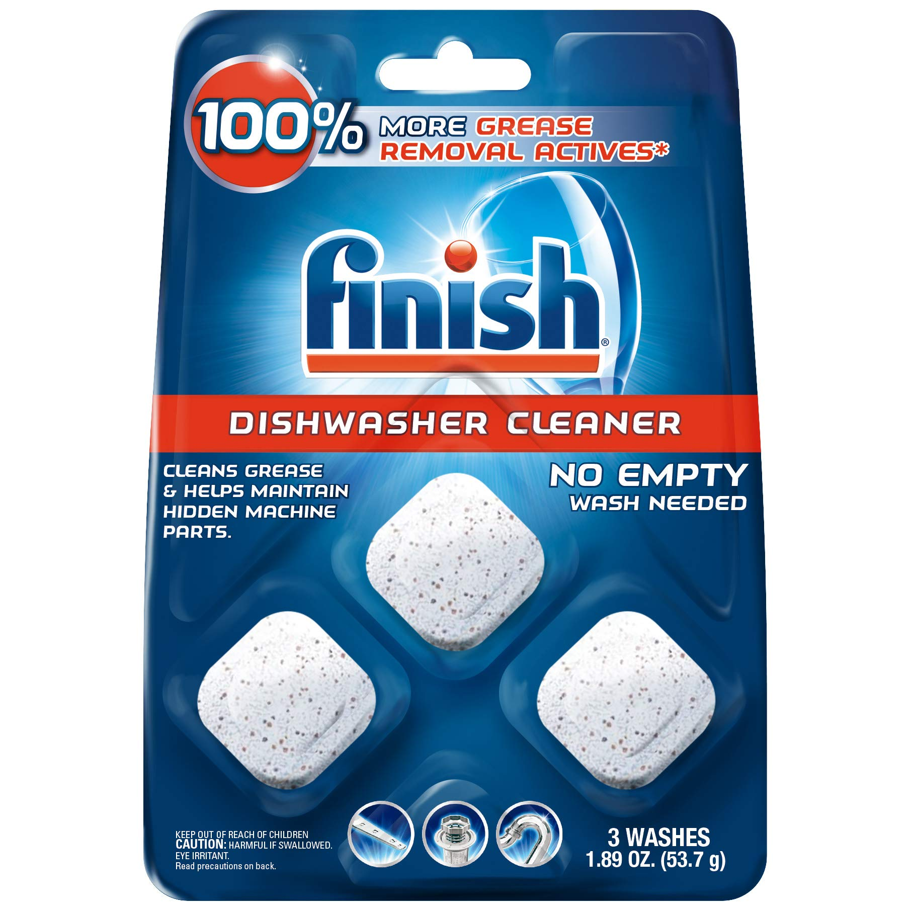 Finish In-Wash Dishwasher Cleaner: Clean Hidden Grease & Grime, 3 count - Pack of 4 by Finish