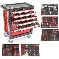 Carro de taller con herramientas ROJO, 7 cajones y 5 modulos en perfil Fibra de carbono