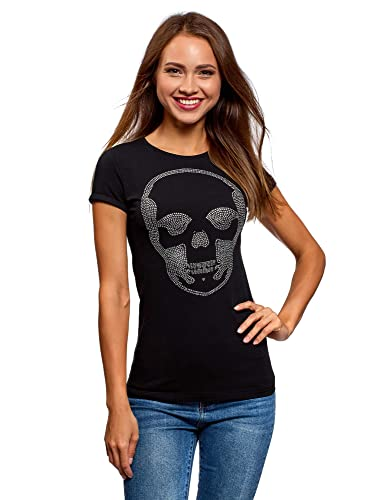 oodji Collection Mujer Camiseta con Estampado Calavera y Pedrería