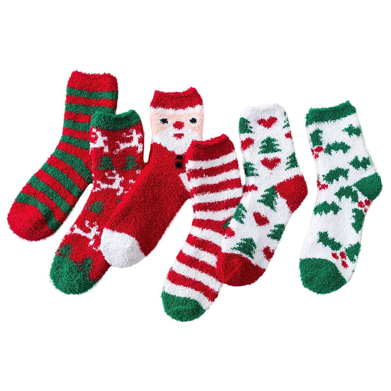 LIKERAINY Calzini Cotone Divertimento di Natale per Bambini 5-10 Anni 6 Paia Unisex