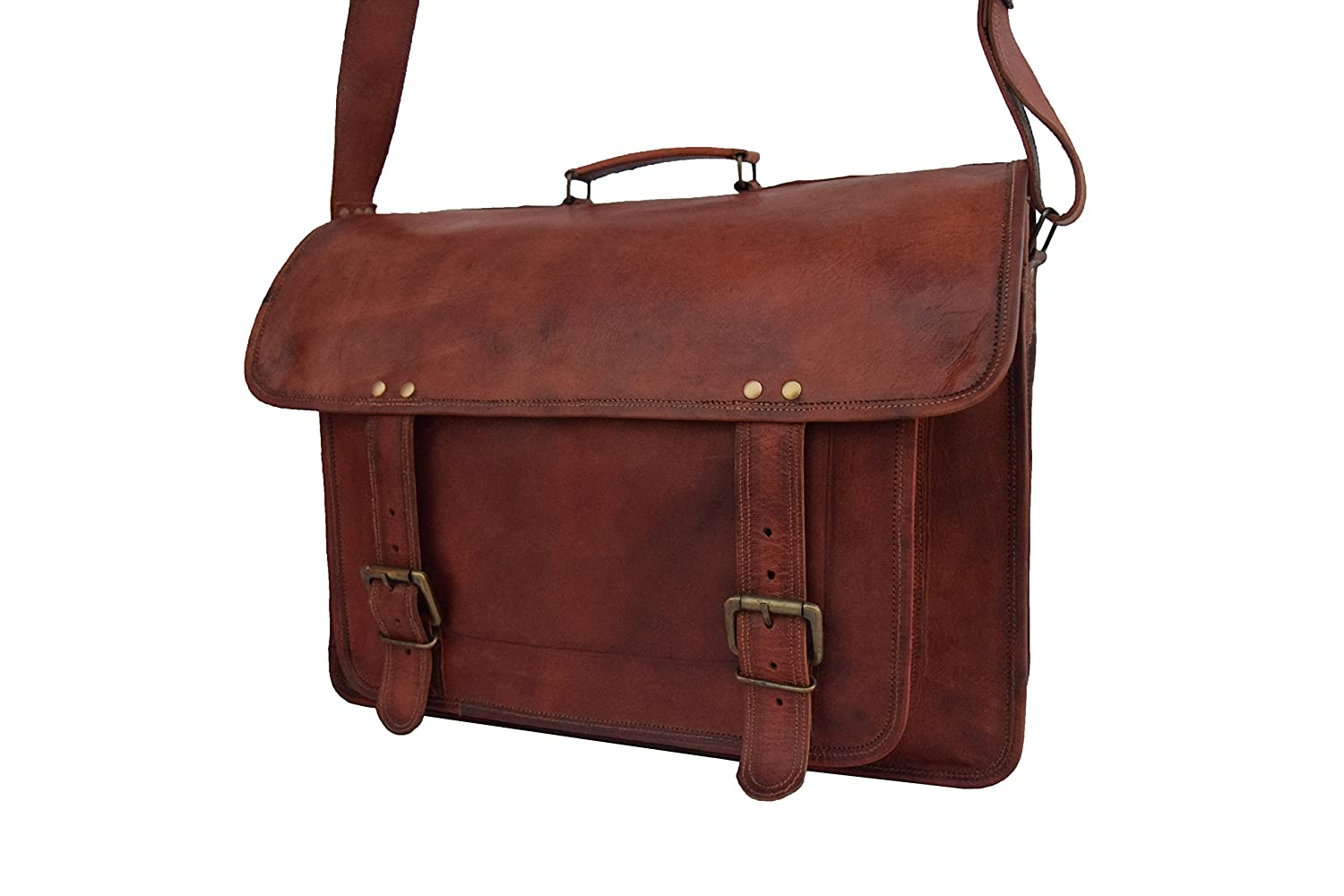 "9/""  Mens Genuine Leather Vintage Laptop Messenger Handmade Briefcase Bag Satchel"