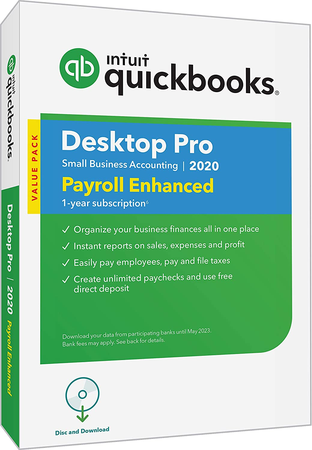 QuickBooks DesktopPro with Enhanced Payroll 2020Accounting Software for Small Business with Amazon Exclusive Shortcut Guide [PC Disc]