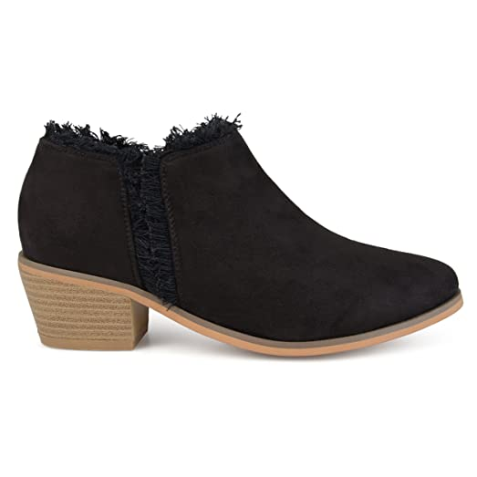 Womens Faux Suede Fringe Ankle Booties