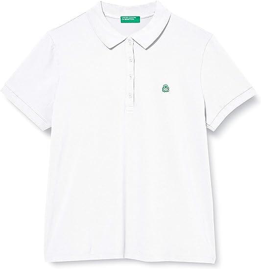 United Colors of Benetton 3WG9E3173 Polo L Donna Bianco Bianco 101