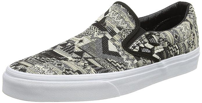 Vans Classic Slip-On Schuhe Unisex Damen Herren Low Top Schwarz Weiß Muster