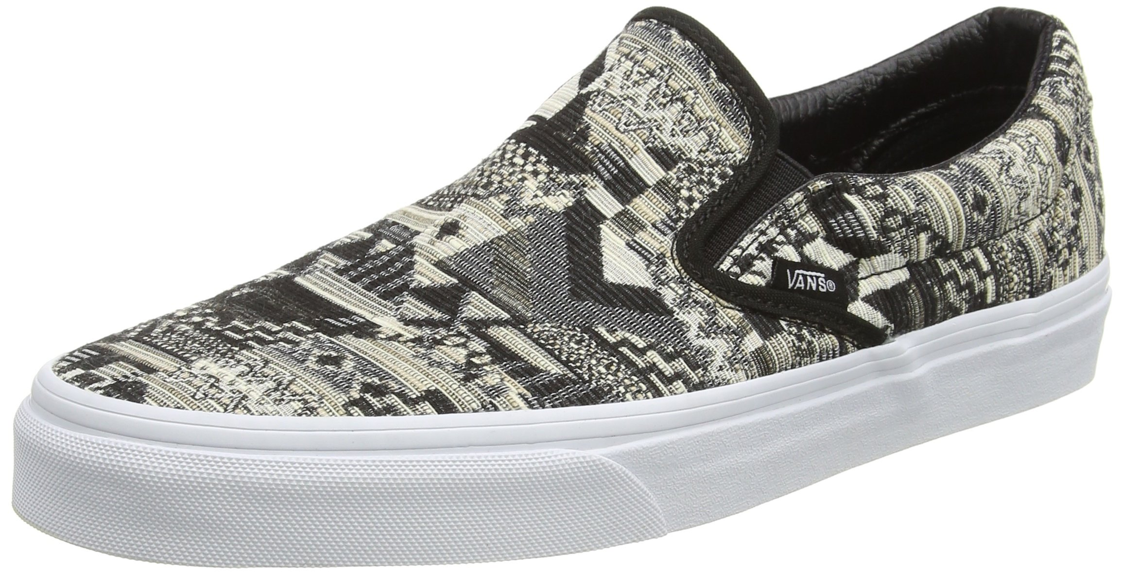 Vans Unisex Classic Slip-On (Italian Weave) White/Bla Skate Shoe 5 Men US/6.5 Women US
