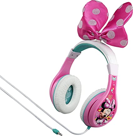 New Kids Girls Headphones Minnie Mouse And Bow Pink With Parental Control Gift