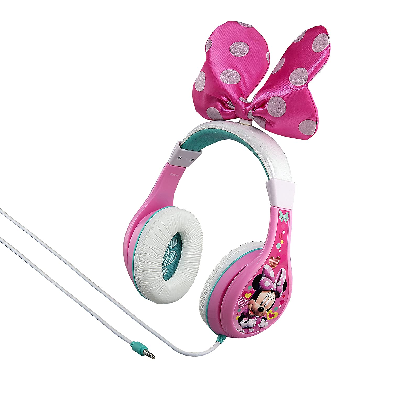 Minnie Mouse Headphones for Kids with Built in Volume Limiting Feature for Kid Friendly Safe Listening