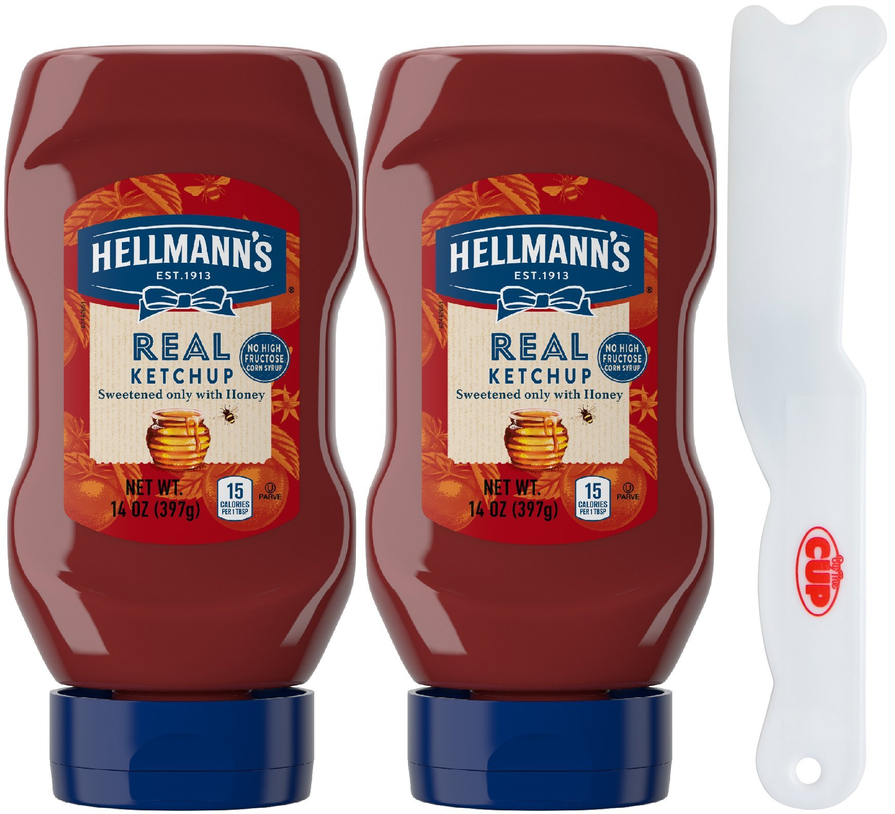 Hellmann's Real Ketchup - Gluten Free, Non-GMO Sourced Ingredients, Sweetened Only with Honey, 14 Ounce Squeeze Bottles (Pack of 2) - with Exclusive By The Cup Spreader