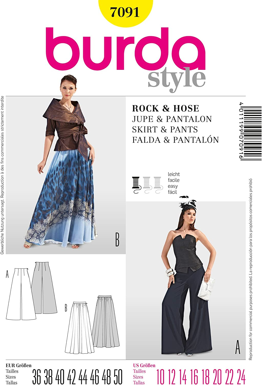 Burda para mujer 7091 - Full patrones de costura para falda y ...