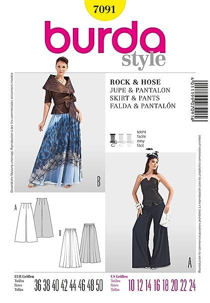 ac4a77362 Burda - Patrón de costura de pantalón y falda de bajo ancho para ...