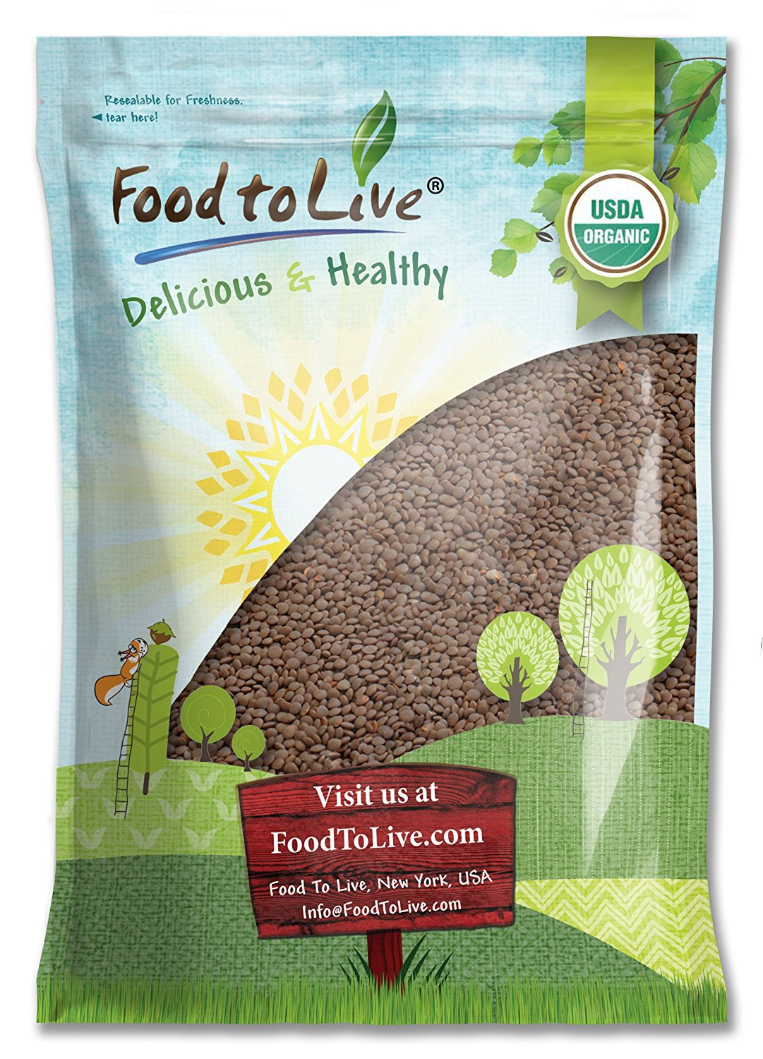Organic Red Lentils Whole, 5 Pounds -Non-GMO, Kosher, Raw, Dried, Sproutable, Rich in Fiber, Bulk, Product of Canada