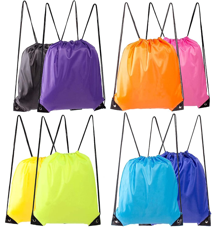 Lontenrea 8 Pcs Drawstring Backpack Sport Storage Bag Hiking Traveling Gym Bags