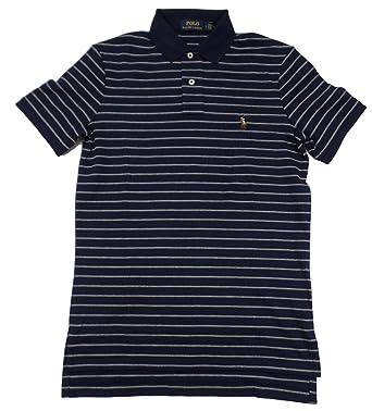 Polo Ralph Lauren Men\u0027s Pony Logo Striped Interlock Polo Shirt (M, French  Navy/