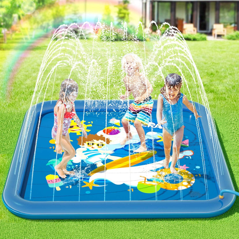 Peradix Splash Pad,Tapete de Juegos de Agua 170CM Almohadilla Aspersor de Juego Agua +10 * Fichas de Juego de plástico,Salpicaduras y PVC Salpica Almohadilla,Aire Libre Fiesta Playa Jardín