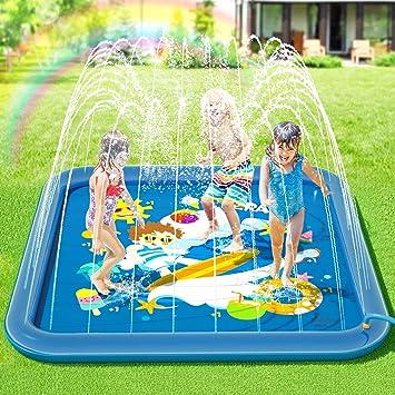 Peradix Splash Pad,Tapete de Juegos de Agua 170CM Almohadilla Aspersor de Juego Agua +10 * Fichas de juego de plástico,Salpicaduras y PVC Salpica Almohadilla,Aire Libre Fiesta Playa Jardín: Amazon.es: Juguetes y juegos