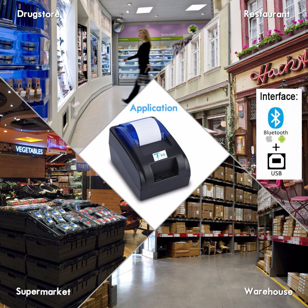 Posprint Bluetooth 40 Printer 58 Mm High Speed Thermal Receipt Mini M58 Ll Usb Pos Compatible For Ios Android System Mobile
