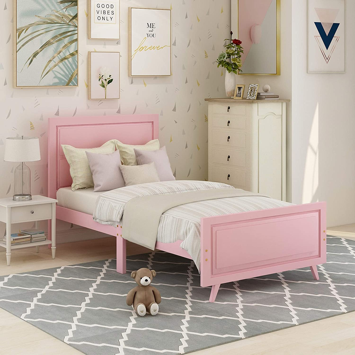 Amazon Com Wood Twin Bed For Girls Size Frame With Headboard And Footboard Kids Toddler Kitchen Dining