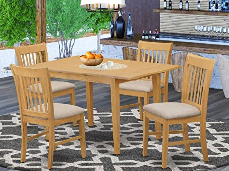 Amazon Com East West Furniture Nofk5 Oak C 5 Piece Kitchen Dining Set 4 Dining Chairs And Kitchen Table Rectangular Table Top Slatted Back And Linen Fabric Chair Seat Oak Finish Furniture