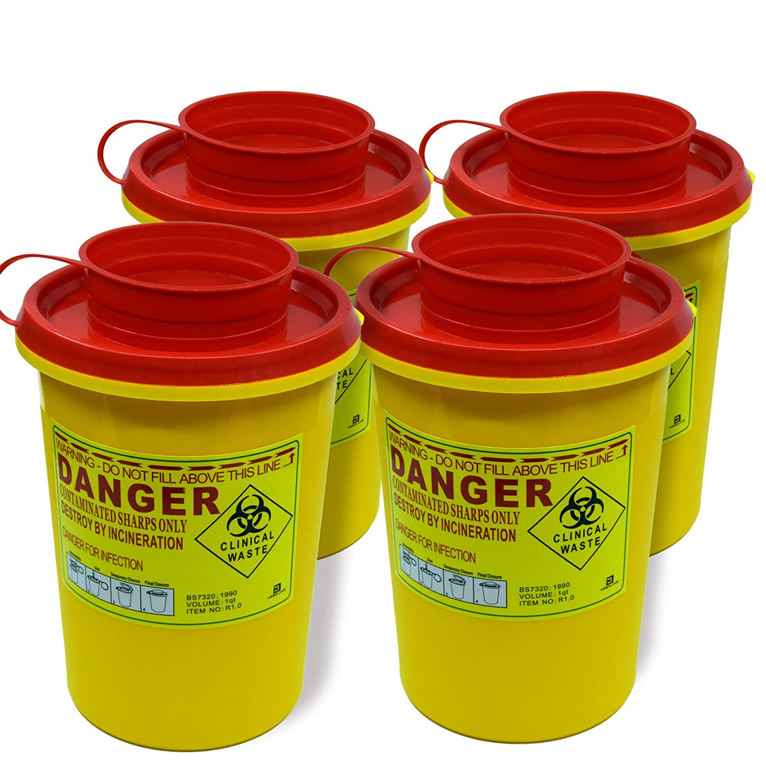 4-Pack Sharps Container(1 Quart),Sharps Needle Disposal Containers,Biohazard Containers Sharps Box Small Sharps Container Needle Disposal Box: Industrial & Scientific
